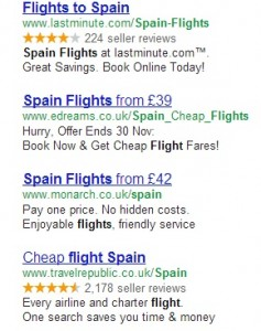 Grab of pay per click ads including one for Monarch
