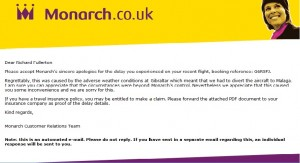 Grab of email apology from Monarch Airlines.