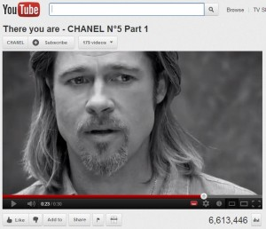 Grab of Chanel No.5 ad featuring Brad Pitt