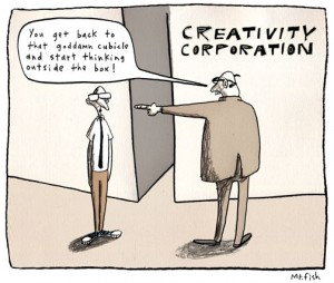 Cartoon of a boss telling an employee to go back to his cubicle and 'think outside the box'.